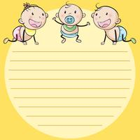 Line paper template with three babies
