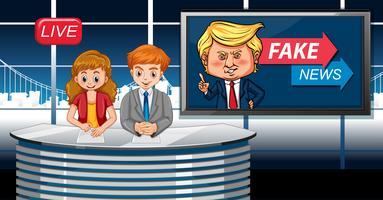 Fake news live at studio vector