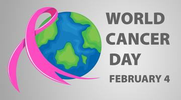 World cancer day poster with pink ribbon