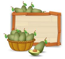 Avocado on wooden banner