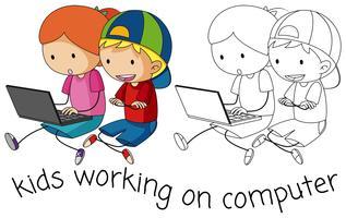 Doodle children working on computer vector