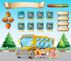 Game template with kids and schoolbus
