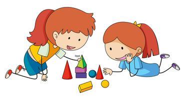Girls playing block toys
