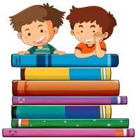 Twee jongens met boeken