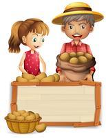 Fazendeiro de batata na placa de madeira