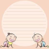 Line paper template with two infants