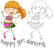 Doodle girl character dancing