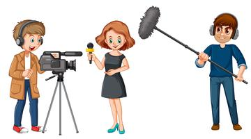Set of broadcast news characters vector