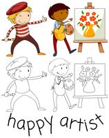 Doodle personagem de artista feliz vetor