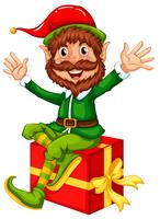 An elf sitting on big gift box