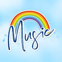 Rainbow and music notes in background