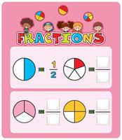 Modèle de feuille de calcul des fractions mathématiques