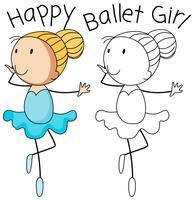 Doodle feliz niña baile vector