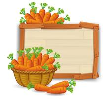 Carrot in basket on wooden banner