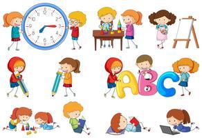 Conjunto de actividad de los niños del doodle