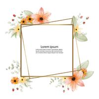 beautiful blossom flower watercolor painting and frame or banner background