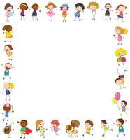 Kadersjabloon met gelukkige kinderen