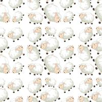 Sheep on seamless pattern