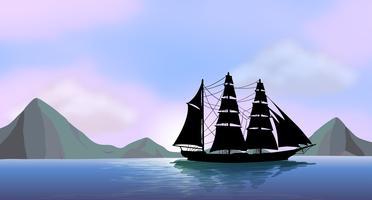 Ett fartyg seglar