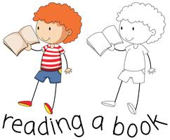 Doodle graphic of boy reading