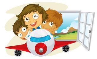 Happy children riding on a jetplane vector