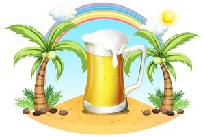 A giant mug of beer near the coconut trees