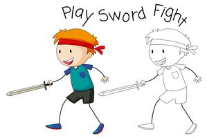 A doodle boy playing sword fight