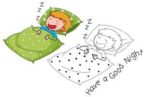 disegno di sonno ragazzo doodle