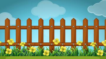 Scene with wooden fence and flowers vector