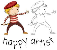 Doodle personaje de artista sobre fondo blanco vector