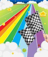 Een kleurrijke weg met een vlag
