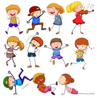 Doodle niños con diferente actividad.