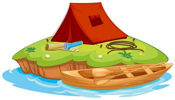 vaious objects for camping and a canoe