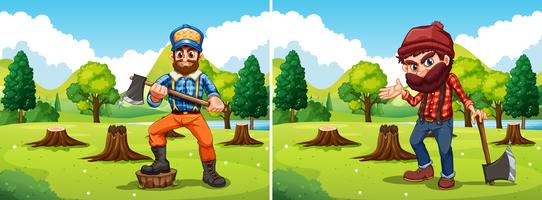 Deforestation scenes with two lumberjacks