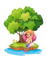 Een zeemeermin op het eiland
