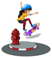 A young girl skating vector