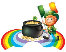 A man holding a flag with a pot of gold coins