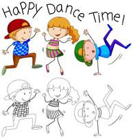 Doodle gelukkig danser karakter