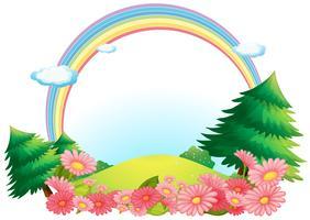 O arco-íris colorido no topo da colina