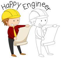 Doodle personagem engenheiro feliz