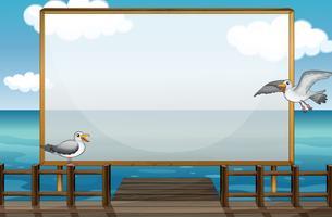 Border design with birds at sea