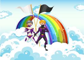 Super-heróis no céu perto do arco-íris