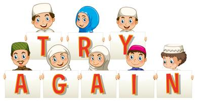 Muslim people holding sign for try again vector