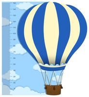 Measuring height scales on paper with balloon
