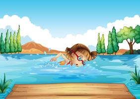 A girl practicing swimming vector
