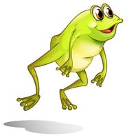 A green frog hopping