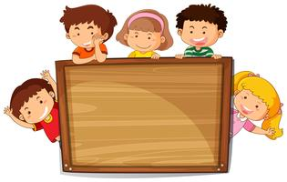 Kids on wooden board