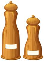 Pepper and salt shakers made of wood