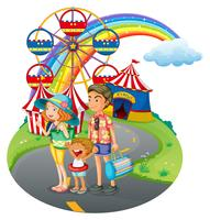 Una unión familiar en el carnaval. vector