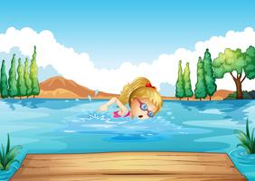 A girl swimming in the river vector